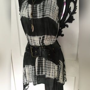 Womens Black Leather Grommet Belt Vintage Boho 70s